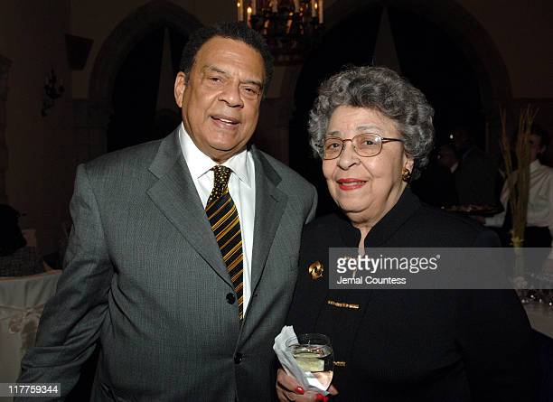Ambassador Andrew Young and Joyce Dinkins during The 'Realizing the Dream' Martin Luther King Jr Tribute Reception at Riverside Church in New York...