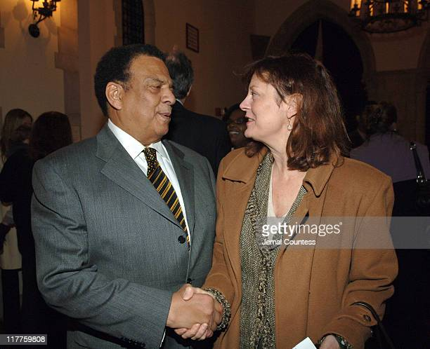 Ambassador Andrew Young and Susan Sarandon during The 'Realizing the Dream' Martin Luther King Jr Tribute Reception at Riverside Church in New York...