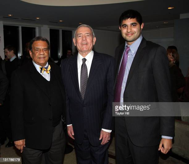 Ambassador Andrew Young newsman Dan Rather and author Kabir Sehgal attend the 'Walk In My Shoes Conversations Between A Civil Rights Legend and His...