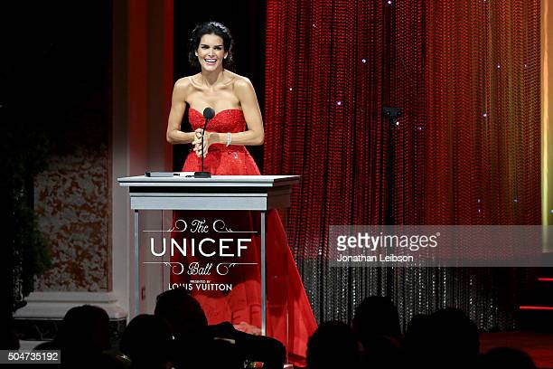 Ambassador Angie Harmon speaks onstage during the Sixth Biennial UNICEF Ball Honoring David Beckham and C L Max Nikias presented by Louis Vuitton at...