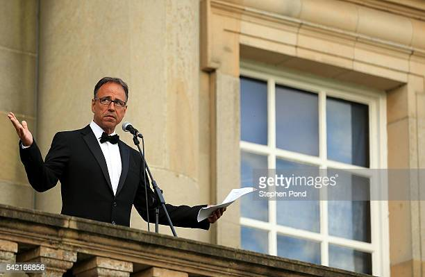 EACH Ambassador Anthony Horowitz makes a speech during a gala dinner in support of East Anglia's Children's Hospices' nook appeal at Houghton Hall on...