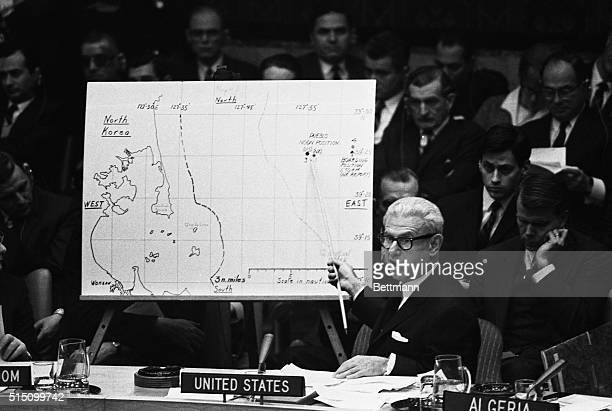 US Ambassador Arthur Goldberg uses a map of the Korea area as he takes the Pueblo crisis before the United Nations Security Council on January 16th...