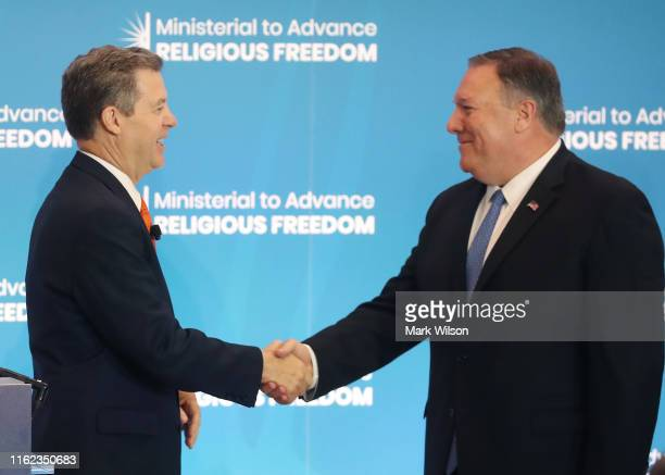 Ambassador at Large for International Religious Freedom Sam Brownback introduces US Secretary of State Mike Pompeo to deliver opening remarks at the...