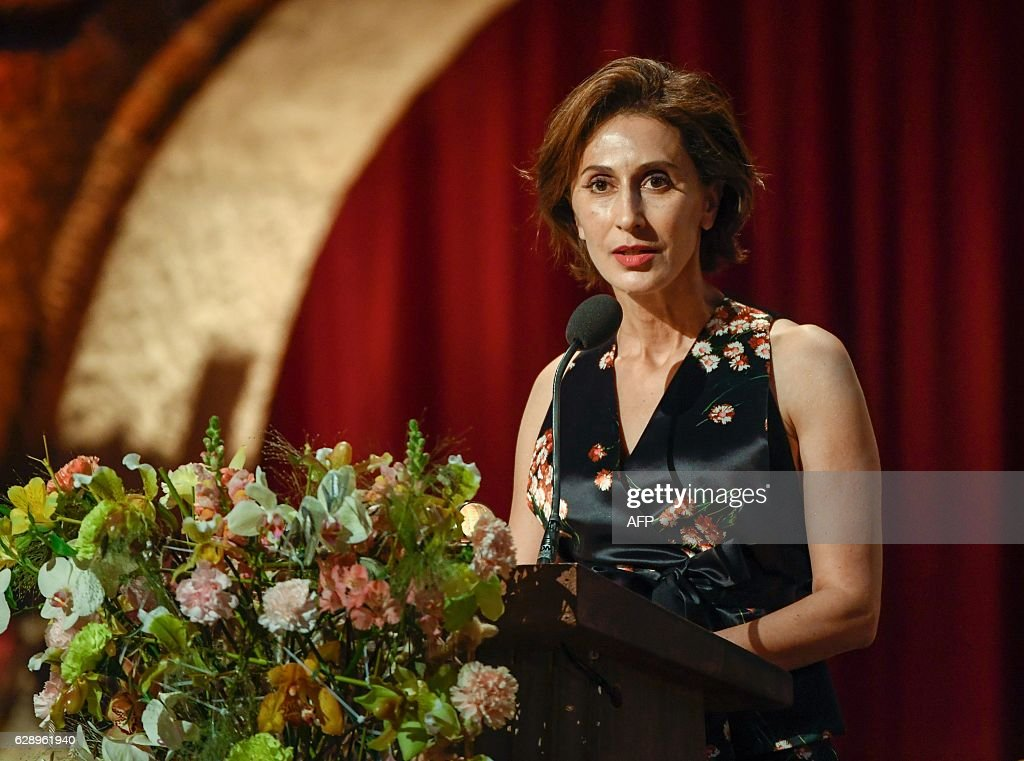 US ambassador Azita Rajis delivers a Banquet Speech written by Literature laureate Bob Dylan at the 2016 Nobel Prize banquet at the Stockholm City Hall on December 10, 2016. News Agency / HENRIK MONTGOMERY / Sweden OUT