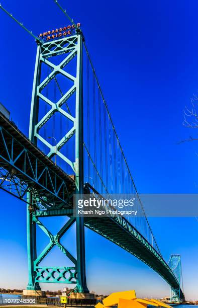ambassador bridge in windsor, ontario - detroit river stock pictures, royalty-free photos & images