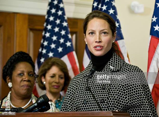 Ambassador Christy Turlington Burns addresses the audience at the Women Delivering for Women Rally and Press Conference at the Longworth House Office...