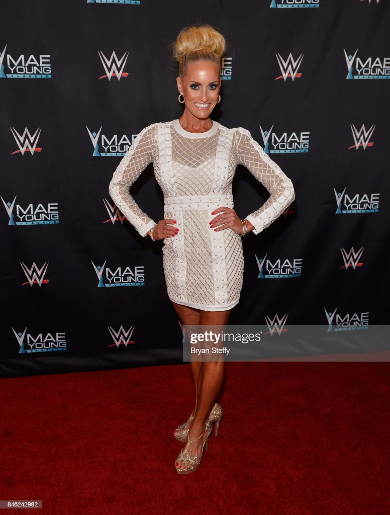 Ambassador Dana Warrior appears on the red carpet of the WWE Mae Young Classic on September 12, 2017 in Las Vegas, Nevada.