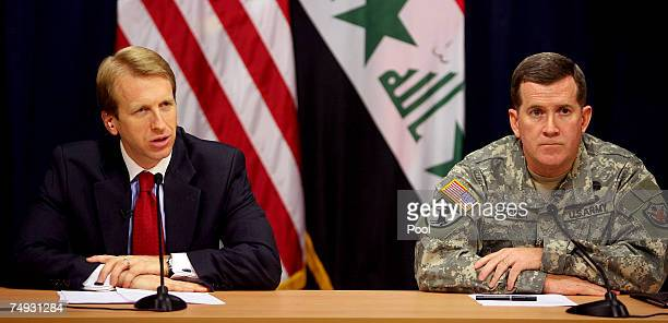 Ambassador Daniel Speckhard the US Embassy Baghdad Charge d'Affaires speaks during a joint press conference with Brigadier General Kevin Bergner US...