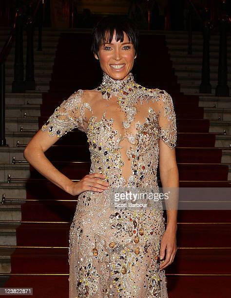 Ambassador Dannii Minogue arrives at a function to unveil her favourite Melbourne Sriring Fashion Week 2011 looks at Melbourne Town Hall on September...