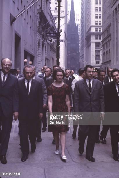 Ambassador Dobrynin, Alexei Kosygin, daughter Ludmilla Gromyko, NYC Police Inspector Sanford Gorelik walking on Wall Street, NY, June 1967.