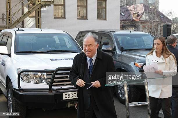 Ambassador Ertugrul Apakan Chief Monitor of the OSCE Special Monitoring Mission to Ukraine receives donated armored Toyotas EU donates vehicles to...