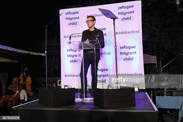 Ambassador Ewan McGregor speaks onstage at US Fund for UNICEF as it calls on world leaders to put children first during a candlelight vigil at Dag...
