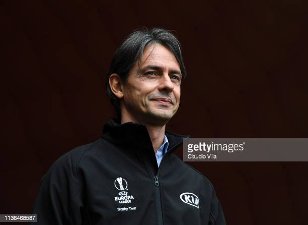 Ambassador Filippo Inzaghi attends during the UEL Trophy Tour Driven by Kia on April 12, 2019 in Milan, Italy.