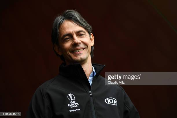 Ambassador Filippo Inzaghi attends the UEL Trophy Tour Driven by Kia on April 12, 2019 in Milan, Italy.