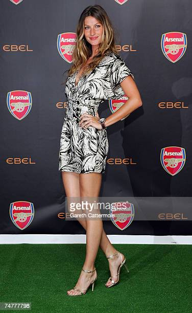Ambassador for Ebel Gisele Bundchen attends a press conference to announce Ebel as official timing partner of Arsenal football club at The Hospital...