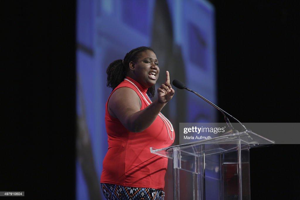 Ambassador for the film 'Girl Rising' Marquesha Barbers speaks during Pennsylvania Conference For Women at Pennsylvania Convention Center on November 19, 2015 in Philadelphia, Pennsylvania.