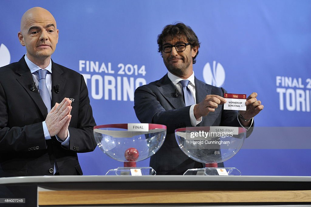 Ambassador for the final Ciro Ferrara draws winners of semi-final 1 during the UEFA Europa League 2013/14 season final draw at the UEFA headquarters, The House of European Football, on April 11, 2014 in Nyon, Switzerland.