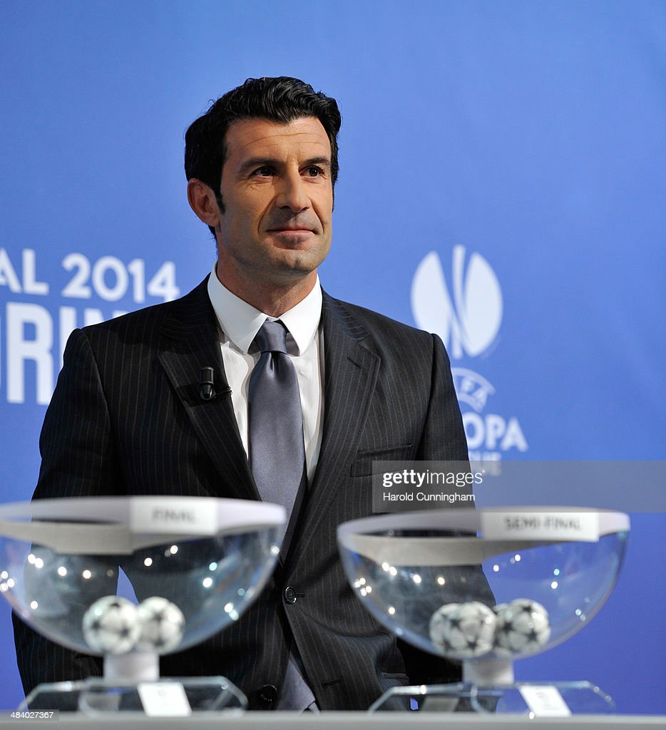 Ambassador for the final Luis Figo looks on during the UEFA Champions League 2013/14 season semi-finals draw at the UEFA headquarters, The House of European Football, on April 11, 2014 in Nyon, Switzerland.