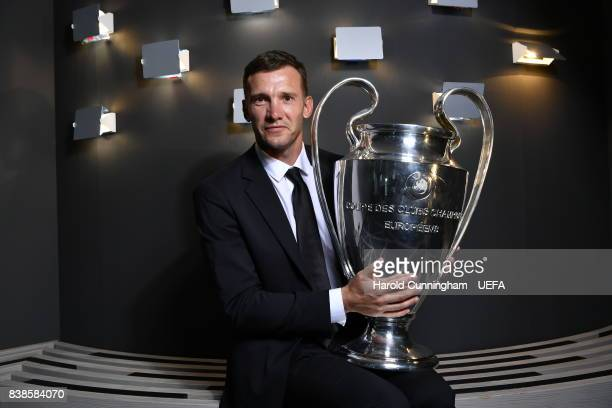 Ambassador for the UEFA Champions League Final Andriy Shevchenko with the UEFA Champions League trophy following an interview ahead of the UEFA...