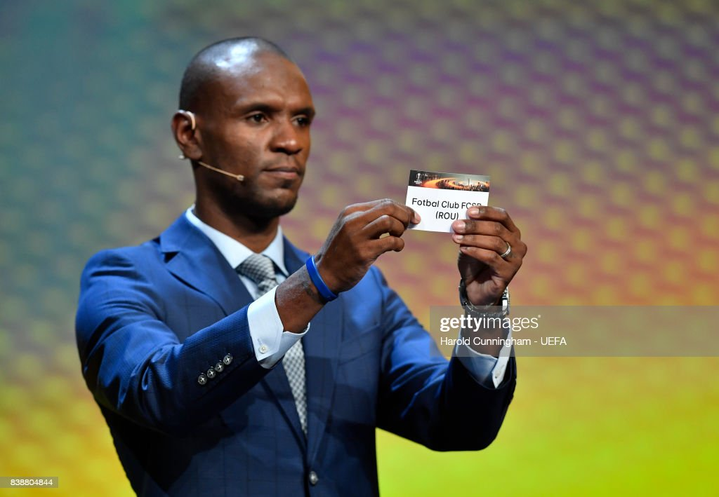 Ambassador for the UEFA Europa League Final Eric Abidal draws out the name of FCSB during the UEFA Europa League 2017/18 Group Stage Draw part of the UEFA ECF Season Kick Off 2017/18 on August 25, 2017 in Monaco, Monaco.