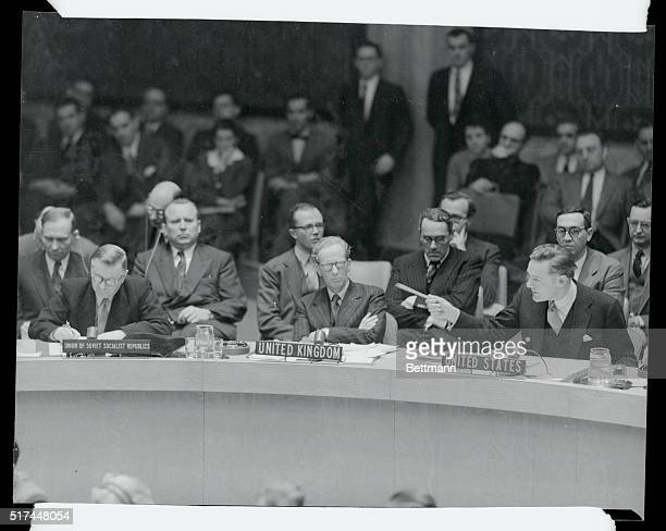 U S Ambassador Henry Cabot Lodge interjects a point of order as Soviet delegate Arkady A Sobolev addresses the UN Security Council in New York Lodge...