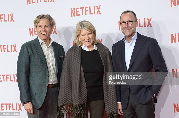 Ambassador James Costos, Martha Stewart and Michael Smith attend the red carpet of Netflix presentation at the Matadero Cultural Center on October...