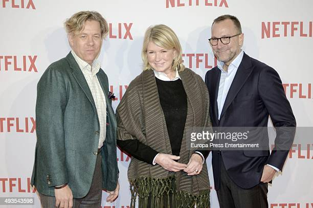 Ambassador James Costos , Martha Stewart and Michael Smith attend the red carpet of Netflix presentation on October 20, 2015 in Madrid, Spain.