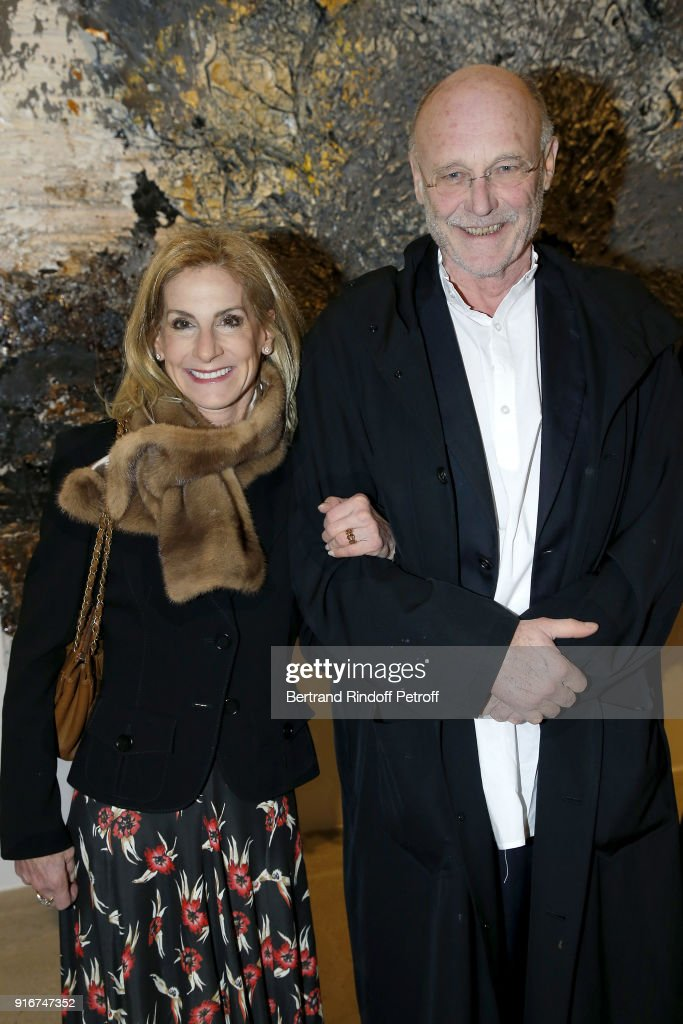 U.S. Ambassador, Jamie McCourt and Artist, Anselm Kiefer attend the 'Fur Andrea Emo' Anselm Kiefer's Exhibition at Thaddeus Ropac Gallery on February 10, 2018 in Paris, France.
