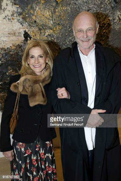 US Ambassador Jamie McCourt and Artist Anselm Kiefer attend the 'Fur Andrea Emo' Anselm Kiefer's Exhibition at Thaddeus Ropac Gallery on February 10...