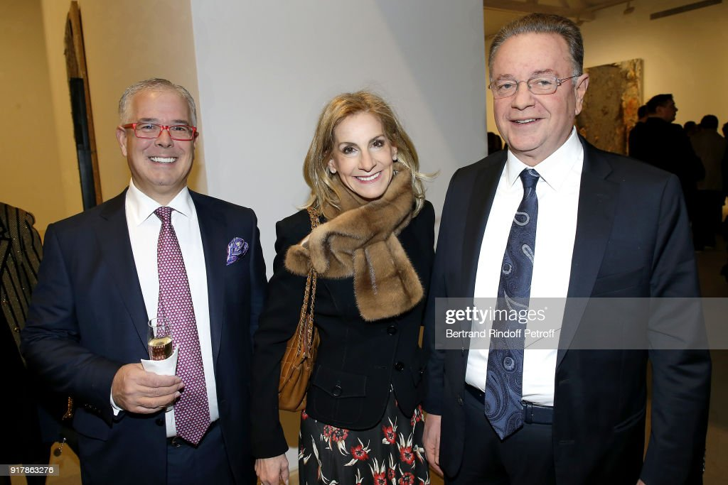 U.S. Ambassador, Jamie McCourt (C) attends the 'Fur Andrea Emo' Anselm Kiefer's Exhibition at Thaddeus Ropac Gallery on February 10, 2018 in Paris, France.