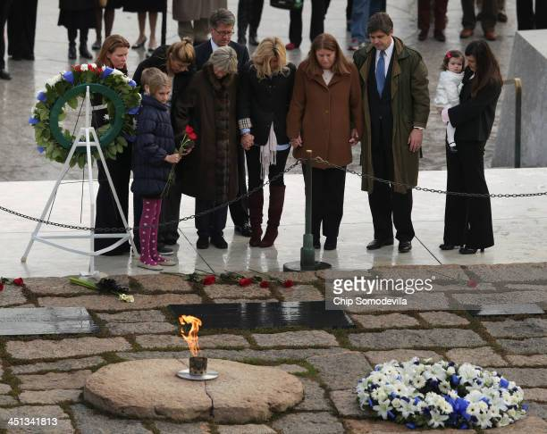 Ambassador Jean Kennedy Smith sister of slain US President John F Kennedy visits her brother's grave with members of her family during a wreathlaying...