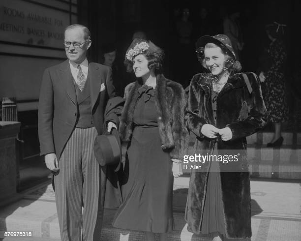 US Ambassador Joseph P Kennedy in London with his wife Rose and daughter Kathleen London 19th March 1938 They are attending the wedding of William...