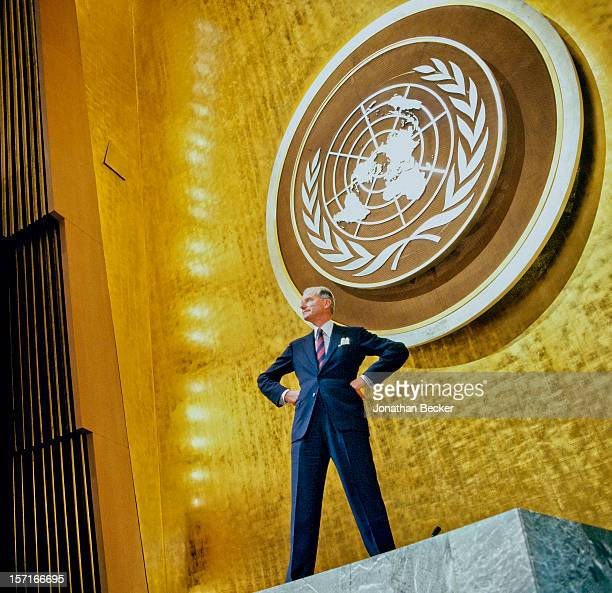 Ambassador Joseph Verner Reed Jr is photographed for Vanity Fair Magazine on January 23 1997 at the General Assembly United Nations in New York City...