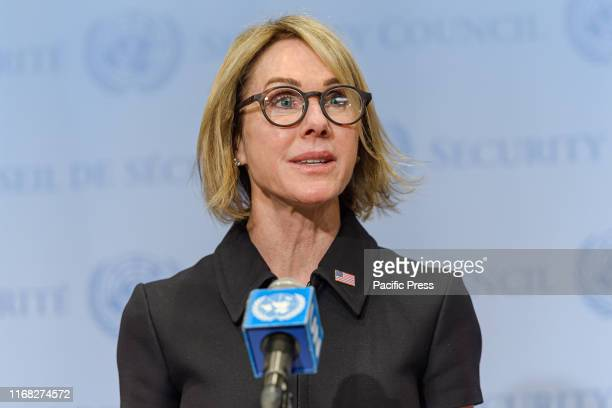 Ambassador Kelly Knight Craft the newlyconfirmed US Permanent Representative to the United Nations is seen at the Security Council stakeout following...