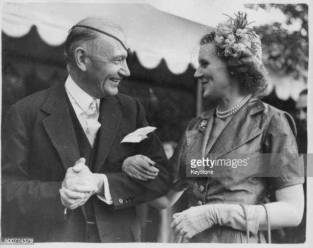 US Ambassador Lewis Douglas chatting to Lady Mayoress Lowson at the Fourth of July Garden Party London July 4th 1951