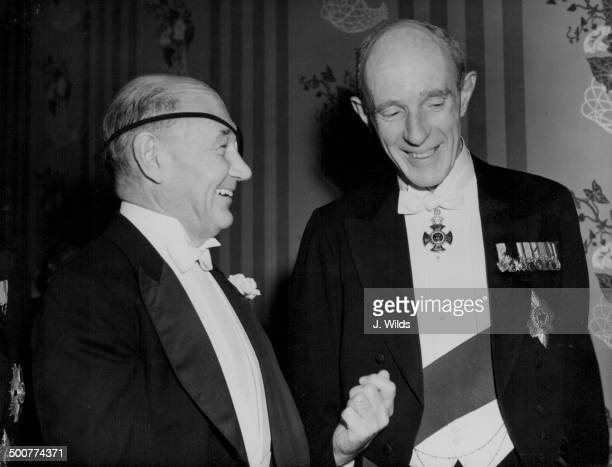 US Ambassador Lewis Douglas chatting to Lord Halifax at the Pilgrim's Dinner to commemorate Douglas's retirement at the Savoy Hotel London November...