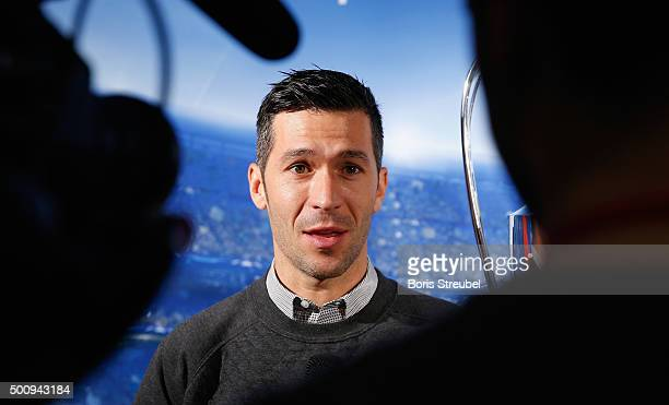 UEFA ambassador Luis Garcia gives an interview next to the trophy during the UEFA Champions League Trophy Tour presented by UniCredit at Paradise...