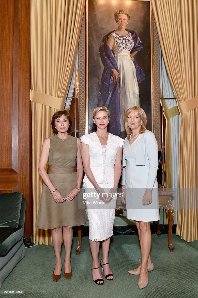 Ambassador Maguy Maccario Doyle, Her Serene Highness Princess Charlene of Monaco and President of The Blue Ribbon, Julie Goldsmith attend the Blue Ribbon of the Los Angeles Music Center to honor Princess Charlene of Monaco at Grand Hall at the Dorothy Chandler Pavililon on May 12, 2016 in Los Angeles, California.