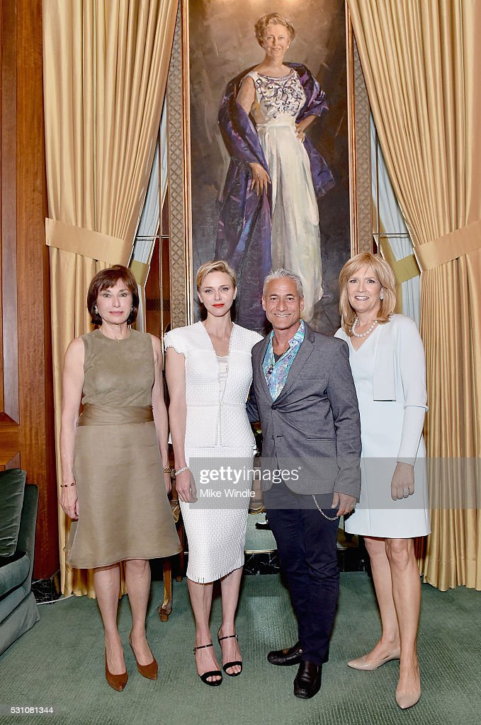 Ambassador Maguy Maccario Doyle, Princess Charlene of Monaco Foundation, Princess Charlene of Monaco, American Olympic diver Greg Louganis and Julie Goldsmith attend the Blue Ribbon of the Los Angeles Music Center to honor Princess Charlene of Monaco at Grand Hall at the Dorothy Chandler Pavililon on May 12, 2016 in Los Angeles, California.