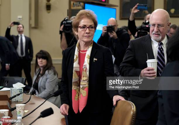 Ambassador Marie Yovanovitch arrives after a break to provide testimony during the impeachment inquiry of President Donald Trump in Washington DC on...