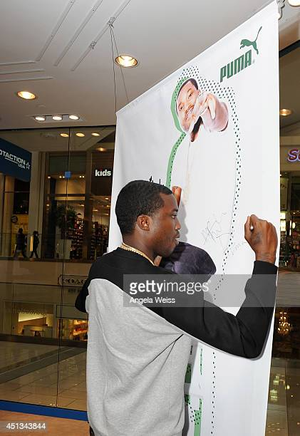 Ambassador Meek Mill shops at Westfield Culver City's Footaction on June 27 2014 in Culver City California