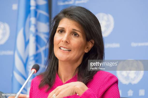 Ambassador Nikki Haley is seen in the UN press briefing room On the first work day of the United States' chairmanship of the United Nations Security...