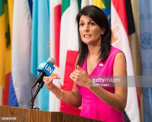 Ambassador Nikki Haley Permanent Representative of the United States speaks during a press conference at the United Nations