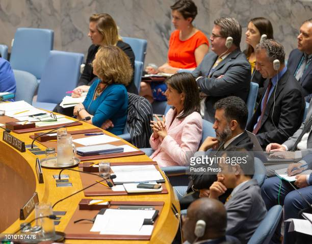Ambassador Nikki Haley Representative of USA to UN attends Security Council meeting on situation in Yemen at United Nations Headquarter