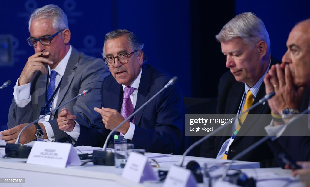 Ambassador of Colombia to the United Kingdom Nstor Osorio Londoo participates in a discussion during the Concordia Europe Summit on June 6, 2017 in Athens, Greece.