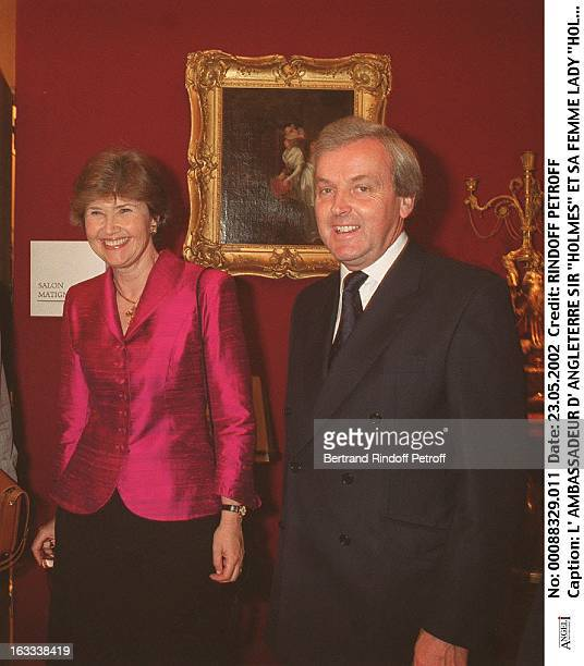 Ambassador of England Sir Holmes and his wife Lady Holmes party at Christie's collection of the Marquis de Bath Avenue Matignon Paris