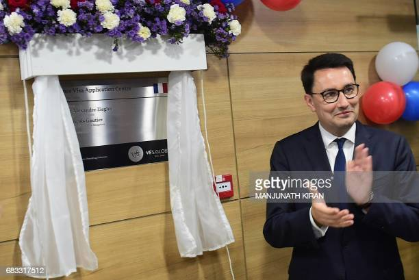 Ambassador of France to India Alexandre Ziegler looks on after opening the French Visa Application Centre at the Schengen Visa Application Centre at...