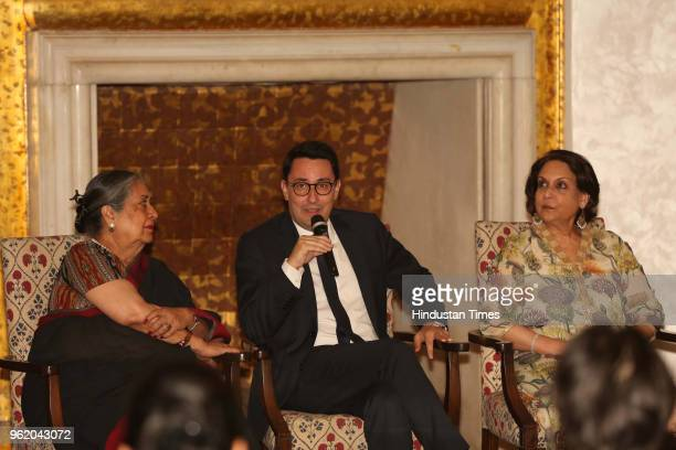Ambassador of France to India Alexandre Ziegler Malvika Singh and Rajyashree Kumari Bikaner during a preview of painting exhibition 'Glimpses of...