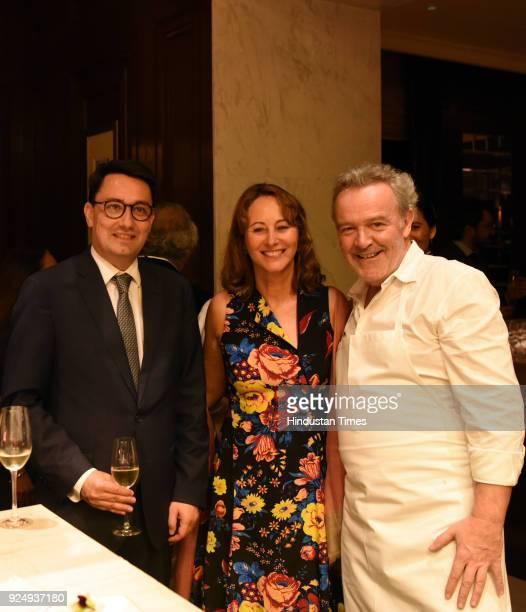Ambassador of France to India Alexandre Ziegler politician Ségolène Royal with Chef Alain Passard during special dinner with Chef Alain Passard at Le...