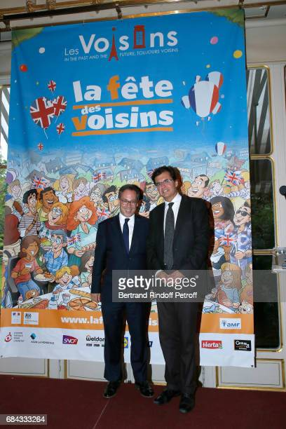 Ambassador of Great Britain to paris Lord Ed Llewellyn and Creator of the Neighbours' Day Atanase Perifan attend the Neighbours' Day Cocktail at...